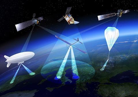 인공위성과 고고도 드론, 성층권 기구 및 비행선은 각자 다른 특성이 있다. ⓒ ESA