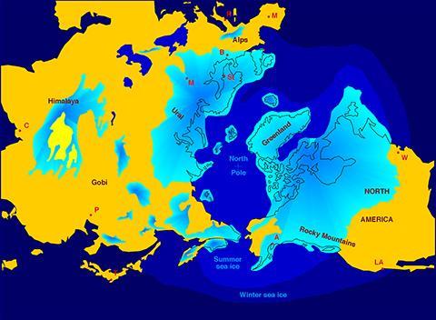 마지막 빙하기의 북반부 빙하 최대 영역. © Hannes Grobe / AWI