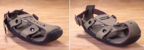 5세 어린이가 신을 수 있는 크기의 신발(좌)을 늘려나가면 10세 까지도 신을 수 있는 신발(우)이 된다 ⓒ TSTG