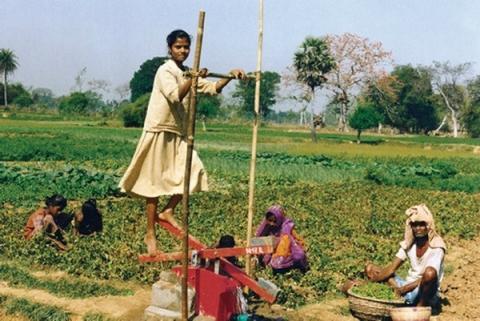 방글라데시 농가에 널리 보급되어 있는 대나무 페달 펌프  ⓒ dongseo.ac.kr